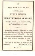 Faire-part Décès Joseph DEKNYFF DELLA FAILLE  Anvers 15/12/1839 - Décès