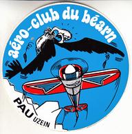 Thematiques Aviation Autocollant Sticker Aero Club Du Béarn Pau Uzein Avion - Autocollants
