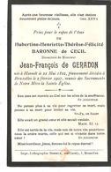 Faire-part Décès Hubertine Baronne De CECIL Bruxelles 2/2/1907. - Décès