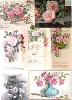 Lot De 40 Cartes Avec Des Roses Et Des Roses Dont Illustrateur Période  Art Nouveau à Art Déco 1900/1930 - Cartes Postales