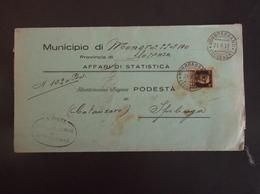 REGNO ITALIA BIGLIETTI CON OVALE DI FRANCHIGIA MONGRASSANO REGIE POSTE 1937 - 1900-44 Vittorio Emanuele III