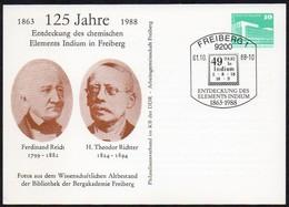 DDR 1988 Postkarte Auf Private Bestellung: 125 Jahre Entdeckung Des Elements Indium ;  Sonderstempel  9200 FREIBERG 1 - Wissenschaften