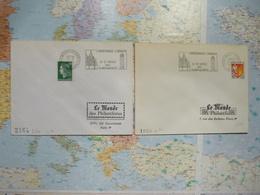 2 Flammes De Fontevraud L'Abbaye Le Saint-Denis Des Plantagenêts 27/10/1965 Et 7/07/1971 - Postmark Collection (Covers)