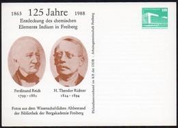 DDR 1988 Postkarte Auf Private Bestellung: 125 Jahre Entdeckung Des Elements Indium - Wissenschaften
