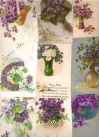 Lot De 20 Cartes Avec Des Violettes Dont Illustrateur Période  Art Nouveau à Art Déco 1900/1930 - Cartes Postales