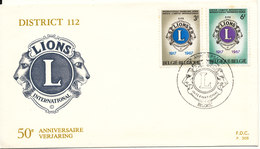 Belgium FDC 14-1-1967 Lions International District 112, 50th Anniversary Compolete Set Of 2 With Cachet - FDC