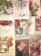 Lot De 10 Cartes Avec Des Bouquets De Fleurs Uniquement Illustrés Ou Dessinés - Cartes Postales