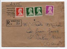 - Lettre Recommandée MONACO-VILLE Pour SAINT-VALLIER-SUR-RHÔNE 14.1.1947 - Bel Affranchissement Philatélique - - Lettres & Documents