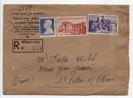 - Lettre Recommandée MONACO-VILLE Pour SAINT-VALLIER-SUR-RHÔNE 19.6.1947 - Bel Affranchissement Philatélique - - Lettres & Documents