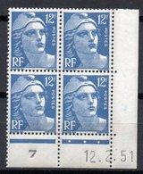 - FRANCE Coin Daté 812 ** - 12 F. Outremer Marianne De Gandon 12.2.1951 - Cote 19 EUR - - Coins Datés