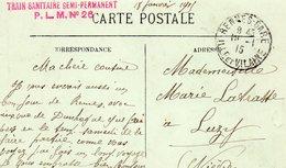 """CP- DUNKERQUE - Cachet: """"Train Sanitaire -Semi Permanent- P.L.M  N° 26-"""" - Guerre 1914-18"""