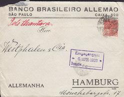 Brazil BANCO BRASILEIRO ALEMÁO, SAÓ PAULO 1928 Cover Letra 'Pelo Thantara' To HAMBURG Germany - Brasil