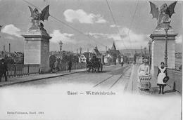 BASEL → Wettsteinbrücke Mit Kutsche Und Passanten, Ca.1900 - BS Bâle-Ville