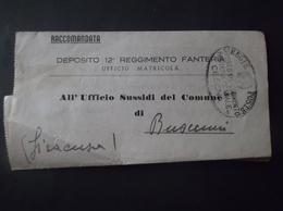 REGNO ITALIA BIGLIETTI CON OVALE DI FRANCHIGIA CESENA REGIE POSTE 1942 DEPOSITO 12 REGGIMENTO FANTERIA RACCOMANDATA MILI - Franchise