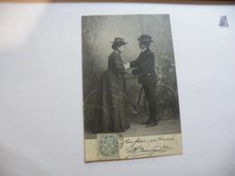 A464. CPA. Une Leçon De Bicyclette..   Beau Plan Animé. écrite & Voyagée 1904 - Cyclisme