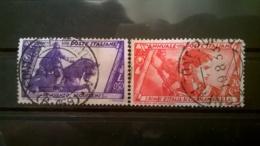 FRANCOBOLLI STAMPS ITALIA ITALY REGNO 1932 USED SERIE MARCIA SU ROMA COPPIA - 1900-44 Vittorio Emanuele III