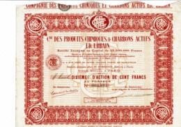75-PRODUITS CHIMIQUES & CHARBONS ACTIFS Ed. URBAIN. 10ème D'action - Shareholdings
