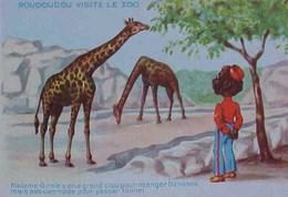 Cpa ROUDOUDOU VISITE LE ZOO , Madame Girafe Y'a Un Grand Cou , Illustrateur Raoul Guinot , Black BOY  & GIRAFFE A/s - Girafes
