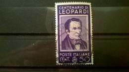 FRANCOBOLLI STAMPS ITALIA ITALY REGNO 1937 USED SERIE UOMINI ILLUSTRI LEOPARDI SASSONE 430 - 1900-44 Vittorio Emanuele III