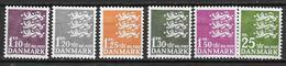 Danemark 1962-1965 N° 406A/410 Neufs** Série Courante Armoiries - Denmark