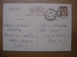 WWII Mars 1941 Correspondance Militaire Soldat DANJEAN Intendant Rabat Maroc Pour Etude Notaire - War 1939-45