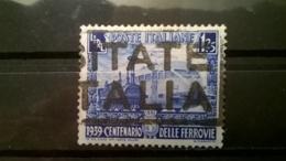 FRANCOBOLLI STAMPS ITALIA ITALY REGNO 1939 USED SERIE CENTENARIO FERROVIE ITALIANE SASSONE 451 - 1900-44 Vittorio Emanuele III