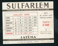 BUVARD:  SULFARLEM LATEMA - CALENDRIER JUILLET 1952 - FORMAT  12X15 Cm - Chemist's