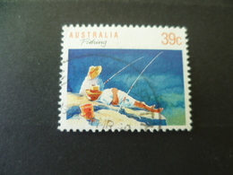 TIMBRE PECHE PECHEUR FISHING  OBLITERE - Timbres