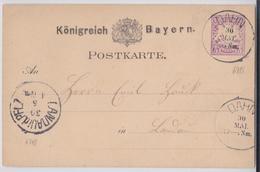 DAHN KÖNIGREICH BAYERN POSTKARTE 30.05.1881 LANDAU IN DER PFALZ - Bavaria