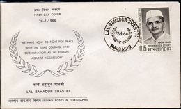 INDIA, 1966 LAL BAHADUR SHASTRI FDC - Covers & Documents