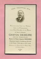 GENEALOGIE / BULLETIN / AVIS DE DECES : 1944 - COUDEKERQUE BRANCHE Prés DUNKERQUE - GASTON DEBEIRE - Décès