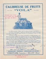"""69 MILLERY Publicité CALIBREUSE DE FRUITS """" VOILA """"  VERGNAIS Constructeur - X29 Rhone C/. ST SYMPHORIEN D' OZON - France"""