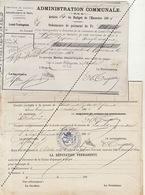 1885 Leval Trahegnies - Binche Domicile De Secours Liste Et Ses 2 Mandats - Fonds Communs Pour Leopold Joachim - Documents Historiques