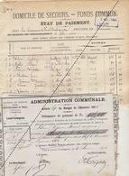 1885 Leval Trahegnies - Binche Liste Domicile De Secours Et 5 Mandats Fonds Communs Leloire Molle Blondiau Biaumez ... - Documents Historiques