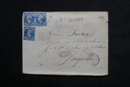 FRANCE - Enveloppe De Bugue En Chargé Pour Périgueux En 1863 , Oblitération GC 669 Sur 3 Napoléons - L 23123 - Marcophilie (Lettres)