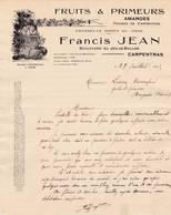 84 CARPENTRAS COURRIER 1925  Fruits & Primeurs  Amandes Francis JEAN X29 Vaucluse - France
