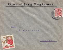 Denmark GLAMSBJERG TEGLVÆRK Brotype IIIb GLAMSBJERG 1914 Cover Brief ASSENS Christmas Seal 'Child Feeding Pidgeons' - 1913-47 (Christian X)
