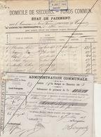 1885 Leval Trahegnies - Binche Liste Domicile De Secours Et 7 Mandats Fonds Communs Leloire Molle Blondiau Biaumez ... - Documents Historiques
