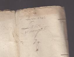 Bretagne - Mars 1735 Baillage De La Noë, Saigneurie De La Villegicquel / Vincent Beaugrand / Georges Gaudin, - Vieux Papiers