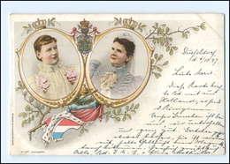 U5000/ Königin Wilhelmine Und Emma Von Niederlande Litho AK 1897 - Familles Royales