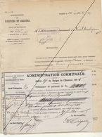 1885 Leval Trahegnies - Binche + Mandat Hospices Et Secours Indigent Hôpital Saint Jean - Documents Historiques