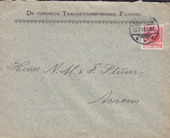 Denmark DE FORENEDE TRÆLASTFORRETNINGER Brotype Ia FAABORG 1910 Cover Brief ASSENS Fr. VIII. Stamp - 1905-12 (Frederik VIII)