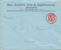 Denmark HANS KNUDSENS JERN- & STAALFORRETNING, Brotype Ia SVENDBORG Cover Brief ASSENS Chr. X. Stamp - 1913-47 (Christian X)