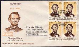INDIA, 1965 ABRAHAM LINCOLN BLOCK 4 FDC - India