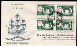 INDIA, 1965 CHAMBER OF COMMERCE BLOCK 4 FDC - Lettres & Documents