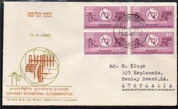 INDIA, 1965 ITU BLOCK 4 FDC - India