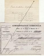 1885 Leval Trahegnies - Binche 4 Mandats Pour L'entretien D'orphelin Cordier-Renard Couvie - Documents Historiques