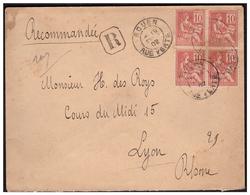 Mouchon En Bloc De 4 Sur Lettre Rec. De ROUEN Pour LYON  Du 19.2.02. - Marcophilie (Lettres)