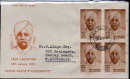 INDIA, 1965 LALA LAJPATRAI BLOCK 4 FDC - Lettres & Documents
