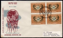 INDIA, 1965 ICY BLOCK 4 FDC - Covers & Documents